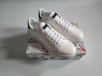 kauçuk yamaları toptan satış-YENI Moda adam kadınlar için tasarımcı ayakkabı deri portofino sneakers kadife dikiş yama Kauçuk taban İtalya gündelik elbise ayakkabı beyaz sneaker