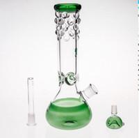 бесплатный боулинг оптовых-29 см стеклянные бонги синий зеленый черный Downstem чаша совместное 14.4 мм два Fuction буровые вышки стеклянные бонги Inline Percs Бесплатная доставка курение кальяны