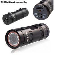 casus video kamera satışı toptan satış-F9 Full HD 1080 P 3MP AIV Mini Kamera Küçük Alüminyum Spor Eylem Kaydedici Kask Kamera DV DVR Spor Extreme Spor Kamera Epacket