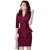 jupe uniforme de travail achat en gros de-Deux pièces costumes slim femmes jupe costumes Business formel style bureau dames élégant OL blazer ensemble plus la taille uniforme de travail
