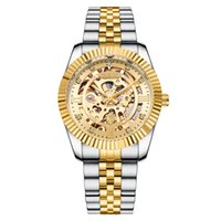 Wholesale gold pointer resale online - CHENXI Gold Bezel Wristwatch Skeleton Hollowout Luminous Pointer High Quality Analog Dial Face Stainless Steel Buckle Folding Buckle