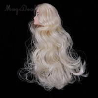 ingrosso luce bjd-1/6 BJD Head Sculpt with Long Curly Light Golden Wig Doll con make-up fai da te fare rifornimenti