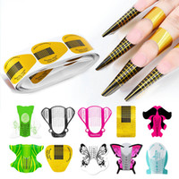 Wholesale french nail resale online - 100 set Nail Art Extension Sticker Polish Gel Tips Gold U Shape French Tips Guide Nail Art Form Manicure Styling Tools