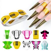 ingrosso strumenti per la formatura di unghie-100 Pz / set Nail Art Extension Sticker Polish Gel Suggerimenti Oro U Shape French Tips Guida Nail Art Form Manicure Strumenti per lo styling