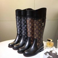 Wholesale snow boots size 42 for sale - Group buy New Womens Shoes Boots Leather Plus Size Platform Womens Boots Shoes High Top Style Wedge Heels Luxury Bottes Femmes Original Box