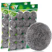 reinigung von edelstahl-töpfen großhandel-Küche Edelstahl Waschtopf Haushalt Kaufhaus Geschirr Abwasch Dekontamination sauber Draht Ball Draht große Stahlwolle