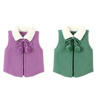 bahar örgü yelek toptan satış-Çocuklar giysi tasarımcısı kızlar Yelek çocuk Kürk yaka Örgü Hırka Bahar Sonbahar kış Yelek kazak moda bebek Giyim C6851
