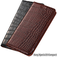 Wholesale sony xperia z3 phones resale online - Ultra Slim Phone Case for Sony Xperia Z3 Compact Genuine Leather Luxury Case For Sony Xperia Z3 Compact Flip Case With Card Slot