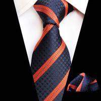 gravata de seda cinzenta venda por atacado-Novo Clássico Cinzento Preto Branco Gravata para Homens Tecido de Seda Jacquard Gravata Hanky Set para Homens Designer de Moda Laços de Seda