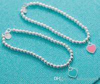 ingrosso ornamento di perline-2018 stile caldo argento sterling blu smalto a forma di cuore rotondo buddha braccialetto di perline ornamento delle donne spedizione gratuita