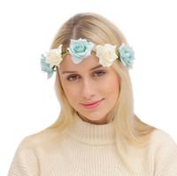 Wholesale Girls Flower Headband Rose Floral Headbands Girls Kids Boutique Elastic Flower Headwear Hair Bands Accessories