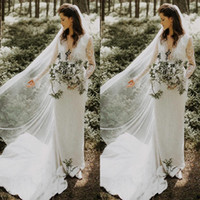 Wholesale colorful wedding dresses resale online - Lace Boho Long Sleeve Sheath Wedding Dresses with Belt Elegant V neck Gardern Country Bridal Wedding Gowns