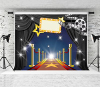 Wholesale computer printed backdrops resale online - Dream x5ft Stage Red Carpet Photography Backdrop Golden Stars Fence Decor Black Curtain Photo Background for Cinema Theme Party Shoot Prop
