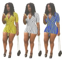 Wholesale v neck clubwear romper for sale - Group buy Summer Women Striped Print Straps Jumpsuit Solid Color Tshirt Tops Deep V neck Short Sleeve Streetwear Romper Trousers Clubwear C41604