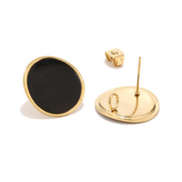 poteaux de poste en or achat en gros de-6pcs noir rouge émail rond stud oreille Post en acier inoxydable or argent ton oreille conclusions pour la fabrication de bijoux