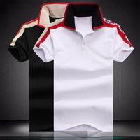 macho listrado venda por atacado-Designer de moda de luxo clássico dos homens de cor listrado camisa de algodão dos homens designer de T-shirt branco preto designer polo camisa masculina M-4XL