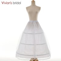 jupon achat en gros de-Vivians mariée 3 cerceaux jupon accessoires de mariée une ligne robe de mariée blanche Petticoat femmes dentelle robe de mariée