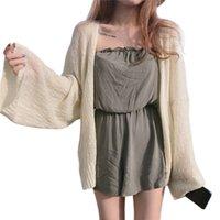 ingrosso cardigan coreano di maglieria estiva-Cardigan da donna stile college coreano pigro cardigan sciolto protezione solare estate maglia media dimensione media