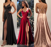 Wholesale sexy prom line dress thigh split resale online - Under Cheap High Thigh Split Evening Dresses New Sexy Criss Cross Backless Satin Spaghetti Long Prom Gowns BM1540