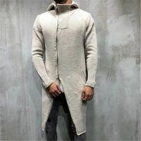 avrupa adamı uzun ceket toptan satış-Avrupa ve Amerika düzensiz hoodies uzun örme kazak erkek ince uzun hoodei ceket erkekler fermuar kişilik erkek homme çekin kazak
