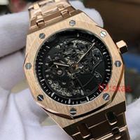 rosa de lujo al por mayor-Lujo Oro rosa hombres esqueleto automático Mens diseñador relojes relojes de pulsera Orologio Di Lusso Robles reales reloj Montre Orologio da Polso
