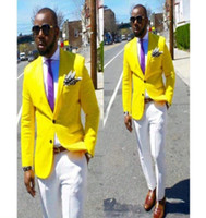 casaco amarelo dos homens venda por atacado-2019 Verão Novos Projetos Casaco Calça Dos Homens Terno Amarelo Ternos de Vestido de Casamento Do Noivo Slim Fit Noivo Smoking Personalizado Blazer de Baile Terno Masculino