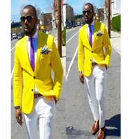 vestido de abrigo amarillo al por mayor-2019 Verano Nuevos Diseños Abrigo Pantalón Amarillo Traje de Novia Traje de Novio Traje de Novio Trajes Esmoquin Novio Personalizado Prom Blazer Terno masculino