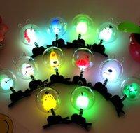 ingrosso bobby flash-10pcs / lot bambini fumetto LED lampeggiante su headwear Incandescente perni di bobby Giocattoli per bambini regali di Capodanno di Natale elettronico giocattoli per bambini