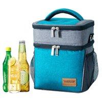 frisches zeug großhandel-Doppelte Reißverschluss-Mittagessen-Handtaschen Große Kapazität Isolierung Kühltasche Container Trinken Frisch Halten Picknick Beutel Zubehör Zeug