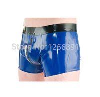 ingrosso pantaloncini blu blu per l'uomo-Pantaloncini da uomo fatti a mano in latex blu e nero con cerniera frontale sexy