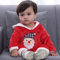 Wholesale baby clothing free shipping dhl for sale - Group buy 2019 Baby Boy Santa Claus clothes Christmas jumpsuits with hooded hat Lovely jumpsuit DHL