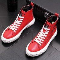 zapatos de hip hop para hombres al por mayor-diseñador de los hombres zapatos del tablero de lujo para hombre zapatillas de deporte altos tops pisos hombres Hip Hop de la plataforma de los zapatos ocasionales de los remaches