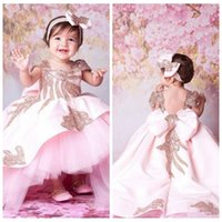 Wholesale kids cute lace short gown resale online - 2020 Short Sleeves Beaded Ball Gown Cute Flower Girl Dresses High Low Tulle Formal Hi Lo Kids Formal Party Gowns With Bow Backless Communion