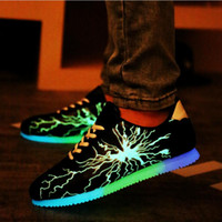 Wholesale led woven fabric resale online - Luminous Fluorescent Shoes Man Shoes Casual Men Led Lighting Fly Weave Luminous Fabric Uppers