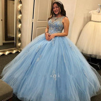 Wholesale ball gowns crystal teens resale online - Light Sky Blue Quinceanera Dresses Crystals Beaded Ball Gown Sheer Neck Masquarad Party Pageant Gowns For Teens Sweet Evening Wear BC2777