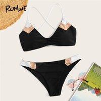 mayo yüzme toptan satış-Romwe Spor Bikini Set Dantelli Dantel-up Geri Üst Ile Renk-blok Mayo Kadınlar Yaz Low Rise Tel Ücretsiz Seksi Plaj Mayo Y19072701