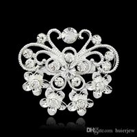 Wholesale jewelry brooch bouquet resale online - Christmas Brooches Beautifully Jewelry Mix Design Silver Planted Clear Rhinestone Crystal Small size Flower Bouquet Wedding Pin Brooches