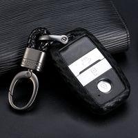 Wholesale optima cars for sale - Group buy Carbon Fiber Pattern Silicone Car Key Case Keychain for Kia Forte Niro Optima Sedona Sorento Soul Sportage Remote Cover