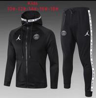 çocuklar kış eşofman toptan satış-Moda Sonbahar Hırka çocuklar futbol eşofman Tişörtü Giyim Suits TopsPants 19 20 Kış Tracksuits psg kapşonlu Coats