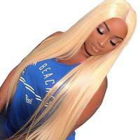 full swiss dantel peruklar toptan satış-Tam Dantel Peruk 613 # Sarışın İsviçre hd Bebek Saç Tutkalsız Brezilyalı Virgin İnsan Saç Peruk ile Şeffaf Dantel Frontal Peruk