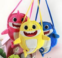 Wholesale birthday packs resale online - Baby Shark Cartoon Fanny Pack Kids Fuzzy Messenger Bag Cute Shark Doule Layers Zipper Bag Plush Crossbody Bag Coin Purse MMA1725
