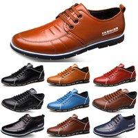 iş rahat ayakkabı satışı toptan satış-2020 Sıcak Satış Tasarımcı erkek deri rahat ayakkabılar siyah lacivert kahverengi İş moda düz taraf erkek eğitmen spor ayakkabı color7