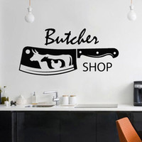 Wholesale butcher knifes for sale - Group buy Butcher Shop Vinyl Wall Decal Knife Bull Chicken Sheep Meat Wall Stickers Decor Kitchen North America Home Decoration Art