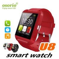 su geçirmez hücre izle toptan satış-Toptan U8 Akıllı İzle Su geçirmez Bluetooth Smartwatch Spor Adımsayar Bilek Akıllı Saatler Android iPhone Elma Cep Telefonu için