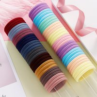 Wholesale 100PCS Women Girls CM Candy Colors Nylon Elastic Hair Bands Ponytail Holder Rubber Bands Scrunchie Headbands Hair Accessories
