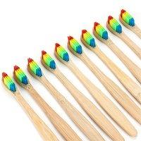 brosse à dents d'extérieur achat en gros de-Voyage En Bois En Plein Air En Bambou Brosse À Dents À Poil Souple Soins Oraux Arc-En-Tête Environnement Ménage Bain Fournitures De Toilette