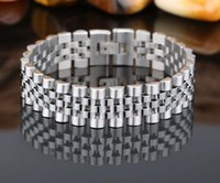relógio de marca prata venda por atacado-Pulseira de cadeia de aço inoxidável de alta polido marca dos homens de prata pulseira de relógio de ouro pulseira pulseiras jóias