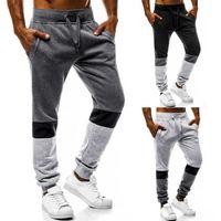 erkekler için joggers pantolon toptan satış-Moda Erkekler Uzun Pantolon Boy Spor Koşucular Gevşek Uzun Pantolon Sweatpants Sıska Eşofman Pantolon Patchwork