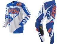 bisiklet yarışı formaları beyaz toptan satış-2018 NAUGHTY 360 MX Dişli Seti Motocross ATV Dirt Bike Off-Road Yarış Dişli Pantolon Jersey Combo Mavi / Beyaz