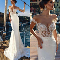 Wholesale mermaid style bridal gowns for sale - Group buy 2020 Mermaid Beach Wedding Dresses Sheer Off The Shoulder Lace Train Trumpet Bridal Gowns Country Style